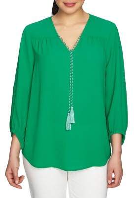 Chaus V-Neck Quarter-Sleeve Blouse
