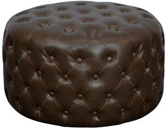 Apt2B Santee Bonded Leather Round Tufted Ottoman VINTAGE BROWN