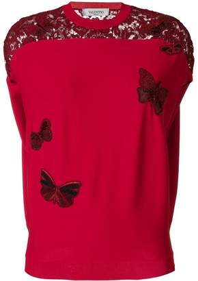 Valentino embroidered butterfly top