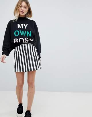 Monki Button Up Striped Mini Skirt