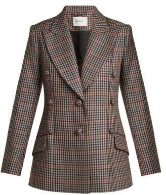 Erdem Devon Single Breasted Check Wool Blazer - Womens - Blue Multi