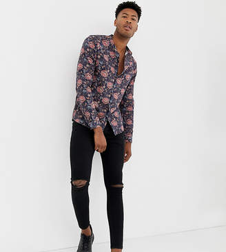 Asos Design DESIGN Tall regular fit floral shirt in blue with grandad collar