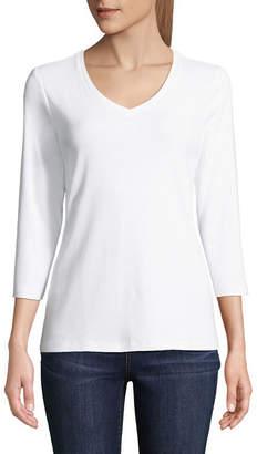 ST. JOHN'S BAY 3/4 Sleeve V Neck T-Shirt-Womens
