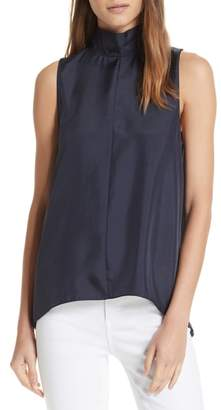 Tibi Mendini Tie Neck Sleeveless Silk Blouse