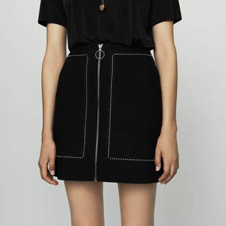 Maje Short crepe skirt with studs