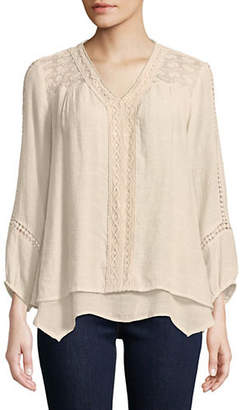 Style&Co. STYLE & CO. Embroidered Lace Asymmetrical Blouse