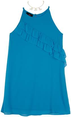 Amy Byer Iz Girls 7-16 IZ Sleeveless Ruffled A-Line Dress with Necklace