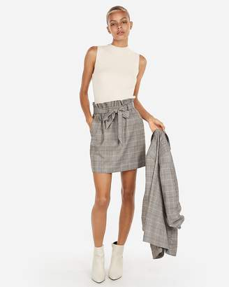 Express High Waisted Plaid Sash Waist Skirt