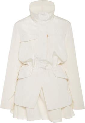 Brandon Maxwell Parka Faille Mini Dress