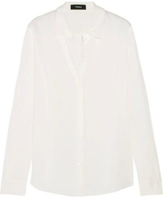 Theory - Tenia Silk Crepe De Chine Shirt - Ivory $245 thestylecure.com