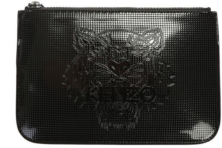 KenzoBlack Logo Embossed Pvc Clutch Bag