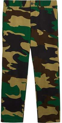Burberry Slim Fit Camouflage Print Cotton Chinos