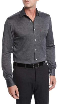 Kiton Men's Herringbone Knit Long-Sleeve Sport Shirt