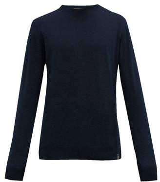 Belstaff Crew Neck Wool And Cashmere Blend Sweater - Mens - Navy
