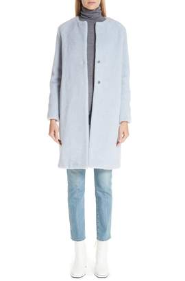Harris Wharf London Collarless Wool & Alpaca Coat