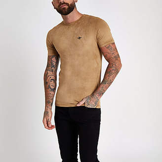 River Island Yellow muscle fit faux suede T-shirt