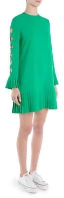 Sara Battaglia Pleated Drop Waist Bell-Sleeve Dress