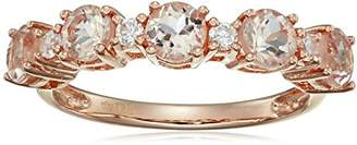 Rose Gold-Plated Silver Morganite and Natural White Zircon 5-Stone Band Ring