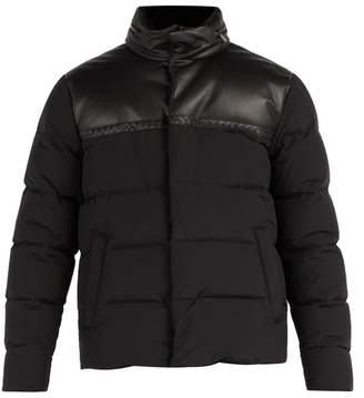 Bottega Veneta Intrecciato Leather And Wool Blend Down Jacket - Mens - Black