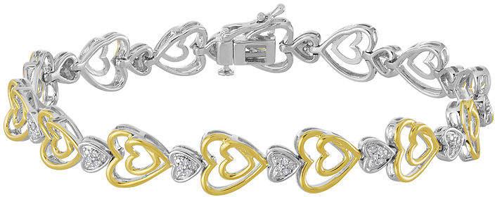 FINE JEWELRY ForeverMine 1/10 CTTW Diamond 14K Yellow Gold/Sterling Silver Heart Bracelet