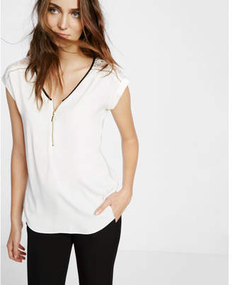 Express Lace Sleeve Zip Front Blouse $49.90 thestylecure.com