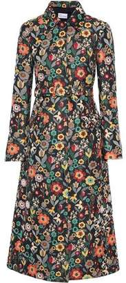 RED Valentino Belted Floral-jacquard Coat