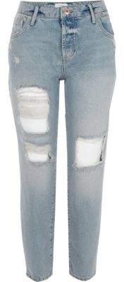 River IslandRiver Island Womens Mid blue ripped boyfriend jeans