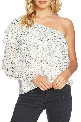 1 STATE 1.State One-Shoulder Tiered Ruffle Blouse