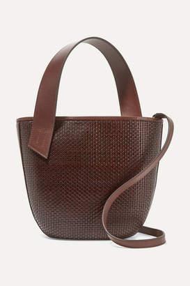TL-180 - Panier Saigon Woven Leather Shoulder Bag - Dark brown