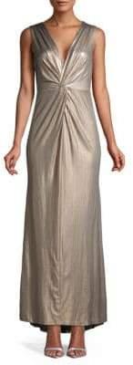 Calvin Klein Metallic Knotted Column Gown