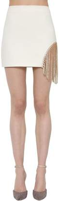 Area Wool Blend Mini Skirt W/ Crystal Fringe