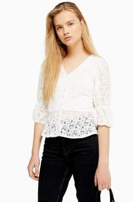 Topshop Womens Lace Button Peplum Top - White
