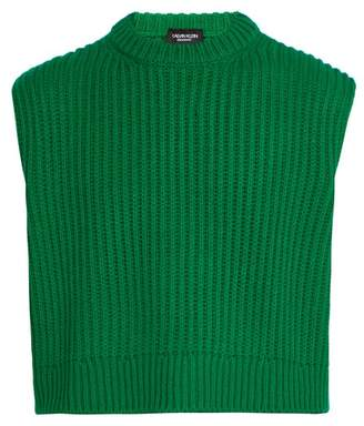 Calvin Klein Cropped Ribbed Knit Sleeveless Sweater - Mens - Green