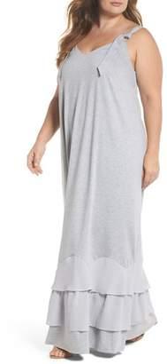 LOST INK Ruffle Hem Jersey Maxi Dress