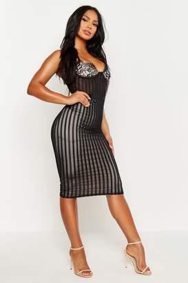 boohoo Lace Cup Striped Mesh Midi Bodycon Dress