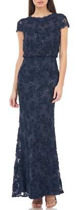 JS Collections Sequin Lace Blouson Gown