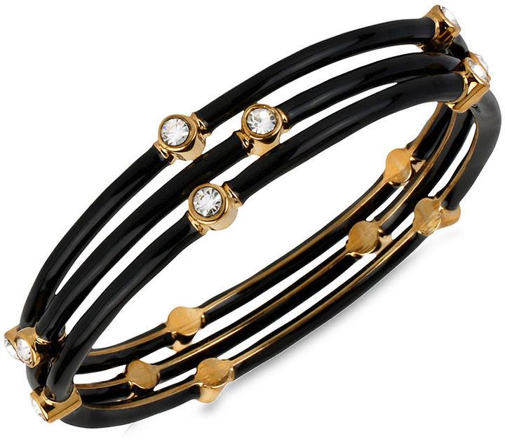 Kenneth Cole New York Bracelet, Gold-Tone and Black Bangle Set