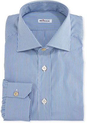 Kiton Micro-Check Cotton Dress Shirt, White/Blue