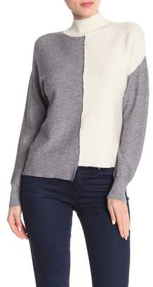 Sisters Colorblock Asymmetrical Mock Neck Sweater