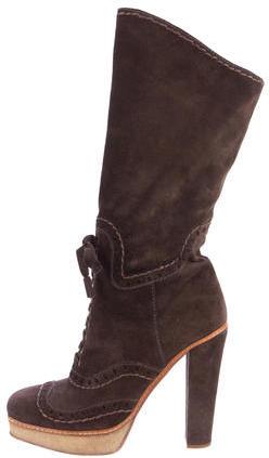 pradaPrada Perforated Suede Boots