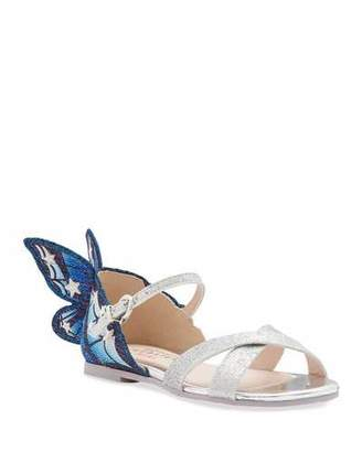 Sophia Webster Chiara Fine Glitter Embroidered Butterfly Wing Sandals, Toddler/Kids
