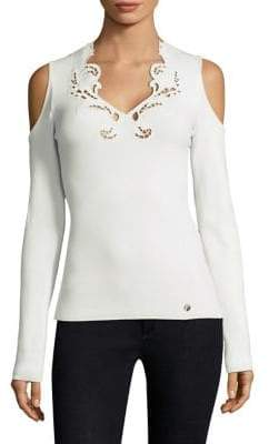 Versace Cold-Shoulder Knit Top