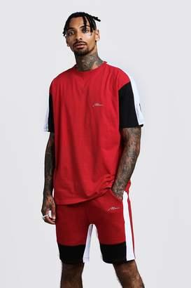 boohoo MAN Colour Block Loose Fit T-Shirt & Short Set