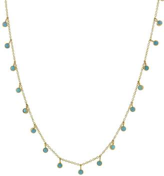 Jennifer Meyer Turquoise Mini Bezel Necklace - Yellow Gold