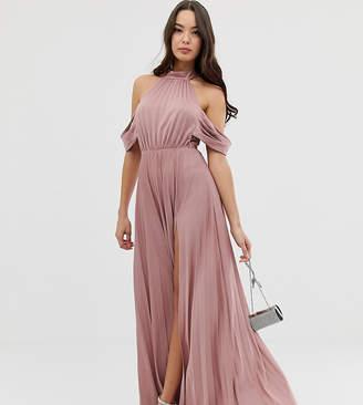 Asos Design DESIGN Halter Pleated Bow Back Maxi Dress
