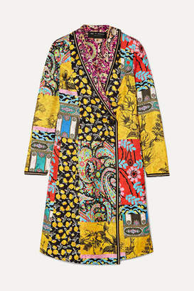 Etro Embroidered Printed Silk-twill Coat - Yellow