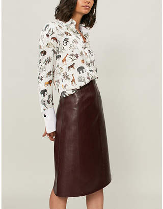 Victoria Beckham Victoria Safari-print silk shirt