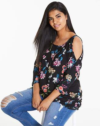 Fashion World Floral Print Cold Shoulder Tunic