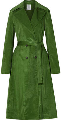 Rosie Assoulin Piano Pleats Cotton-blend Corduroy Trench Coat - Dark green