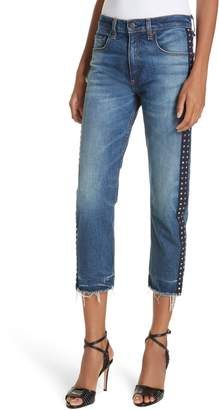 Veronica Beard Ines Rhinestone Side Stripe Girlfriend Jeans